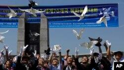 지난 2013년 8월 한국 파주시 임진각에서 한반도 평화 통일과 DMZ 세계평화공원 실현을 기원하는 행사가 열렸다. (자료사진)