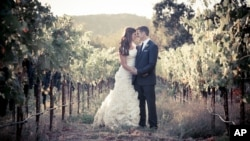 Brittany Maynard and Dan Diaz at their wedding in this photograph provided by Compassion & Choices.