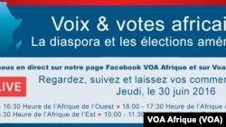 Rejoignez-nous en direct sur notre page Facebook VOA Afrique et sur VoaAfrique.com Regardez, suivez et laissez vos commentaires. Jeudi, le 30 juin 2016 15:00 - 16:30 Heure de l'Afrique de l'Ouest 16:00 - 17:30 Heure de l'Afrique centrale 17:00 - 18:30 Heure de l'Afrique de l'Est 10:00 - 11:30 Heure de la côte Est des Etats-Unis
