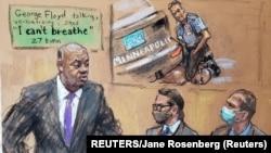 Detalj sa suđenja Dereku Šovinu prikazan sudskom skicom/crtežom (REUTERS/Jane Rosenberg)