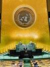 Mađarski ministar inostranih poslova Peter Szijjarto obraća se 75. sjednici Generalne skupštine Ujedinjenih nacija, u sjedištu UN-a, u New Yorku, 23. septembar 2021.