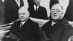 Herbert Hoover, left, and Franklin Roosevelt in Washington on Inauguration Day