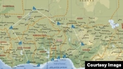 The route activists plan to walk on their multi-country trek. Courtesy - 'Walk to Mali.'