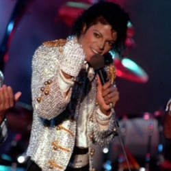 Michael Jackson performs with his brothers at Dodger Stadium in Los Angeles on December 3, 1984