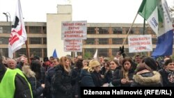 Protest of Workers of Global Ispat Coke Industry Lukavac - Gikil in front of the Government of the Federation BiH in Sarajevo