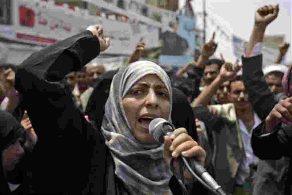 La activista Tawakkul Karman, fue una de las ganadoras del Premio Nobel de la Paz 2011por ser parte importante en la lucha por los derechos de las mujeres, por la democracia y la paz en Yemen.
