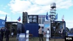2013年8月莫斯科航展隱藏在集裝箱中的俱樂部-K型導彈。 (美國之音白樺拍攝)