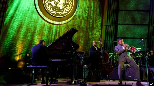 Wynton Marsalis performs during the International Jazz Day Concert held at the United Nations General Assembly Hall in New York,  April 30, 2012.