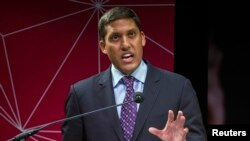 FILE - U.S. Agency for International Development (USAID) Administrator Rajiv Shah speaks during the conference in New York, April 3, 2014.