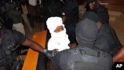 Hissène Habré au tribunal à Dakar le 20 juillet 2015. (AP Photo/Ibrahima Ndiaye)