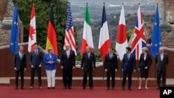 سران هفت کشور صنعتی جهان و نمایندگان اتحادیه اروپا در جزیر سیسیل ایتالیا