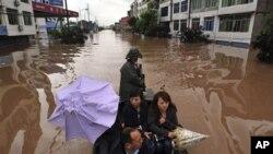 홍수로 피해를 입은 중국 쓰촨성