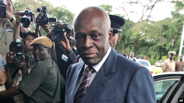 FILE - Angola President Jose Eduardo dos Santos says he will not seek re-election in 2017 parliamentary elections. He's shown in 2008.