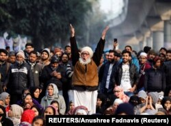 A man reacts during a protest against a new citizenship law outside the Jamia Millia Islamia university in New Delhi, India, December 26, 2019.