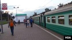 中俄高铁项目悬而未决。莫斯科郊外的一处城郊火车站。