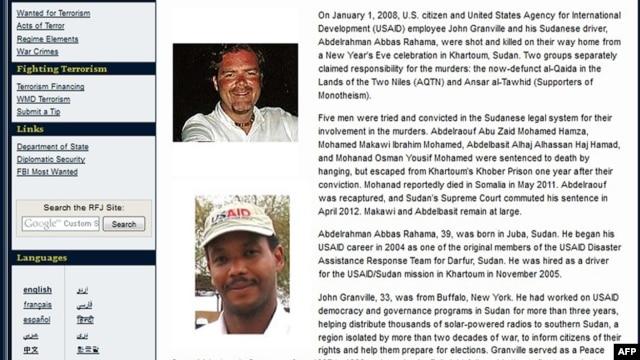 Áp phích của Bộ Ngoại giao Mỹ hình nhà ngoại giao Mỹ John Michael Granville và người tài xế, Abdelrahman Abbas Rahama.