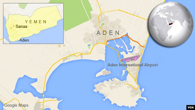 Map of Aden, Yemen