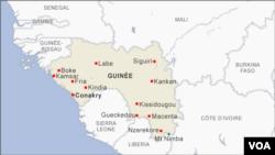 Situation géographique de la Guinée. (VOA)