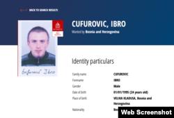 Interpolova potjernica za Ibrom Ćufurovićem