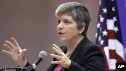 Homeland Security Secretary Janet Napolitano gestures while discussing the department's enforcement of immigration laws, at American University in Washington, October 5, 2011.