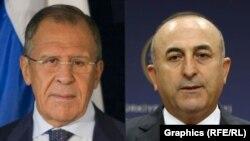 Menlu Rusia Sergei Lavrov (kiri) bertemu Menlu Turki Mevlut Cavusoglu di sela-sela pertemuan OSCE di Beograd, Kamis 3/12 (foto: dok).