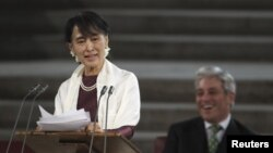 Bà Suu Kyi đọc diễn văn trước 2 viện Quốc hội Anh ở London hôm 21/6/12
