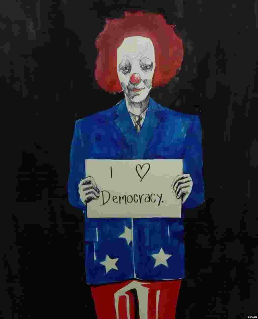Obra de arte tributo a la democracia en Honduras.