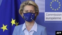 Presiden Komisi Uni Eropa, Ursula von der Leyen berbicara di Brussels, Belgia