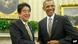 Japanski premijer Šinzo Abe i predsednik Barak Obama tokom susreta u Beloj kući