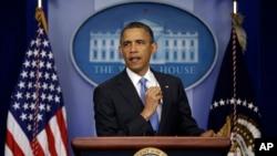 Presiden Barack Obama dalam konferensi pers di Gedung Putih, Washington (30/4).