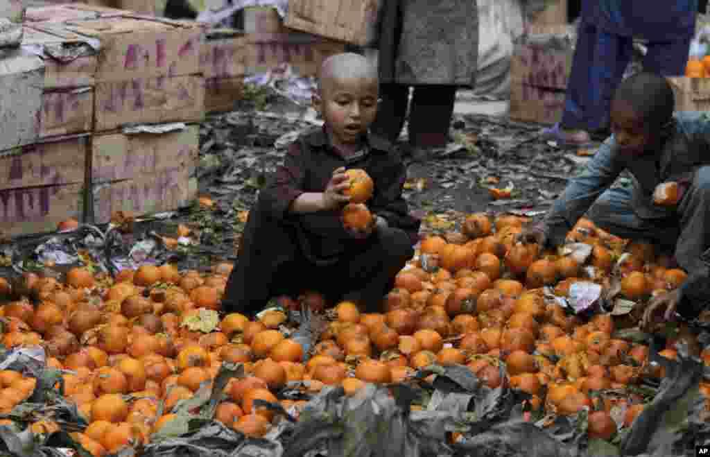 کودکان پاکستانی در ميان تل پرتقالهای گنديدهای که فروشندگان پرتقال در پايان روز در بازار ميوه لاهور دور ريختهاند.