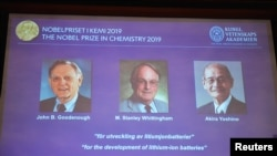 "A screen displays the portraits of the laureates of the 2019 Nobel Prize in Chemistry (L-R) John B. Goodenough, M. Stanley Whittingham, and Akira Yoshino ""for the development of lithium-ion batteries"" during a news conference in Stockholm, Sweden. (Reuters)"