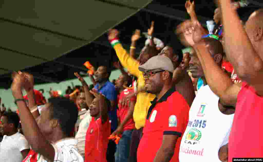 Equatorial Guinea fans erupt in cheers after their team scores against Gabon, on Sunday, Jan. 25, 2015.