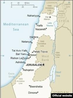 Dövlət Departamentinin İsrail xəritəsində Qüds ölkənin paytaxtı, Qolan təpələri isə İsrailin işğal etdiyi ərazi olaraq təsvir olunub.