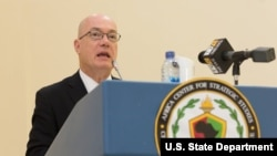 U.S. Ambassador to Ghana Robert P. Jackson speaks at the Africa Logistics Forum. April 12, 2016