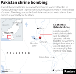 MAP: The Lal Shahbaz Qalandar shrine where a suicide bomber killed at least 72 people