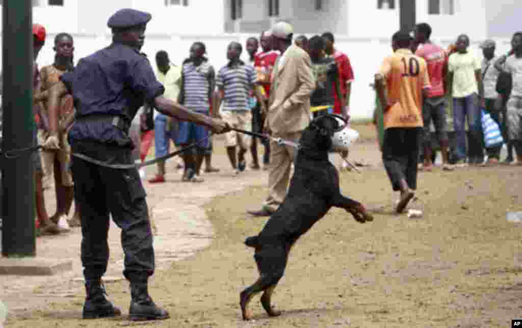 "A member of Equatorial Guinea's police special forces and his security dog try to control Equatorial Guinea fans outside Estadio de Bata ""Bata Stadium"", which will host the opening match and ceremony for the African Nations Cup, in Bata January 21, 2012."