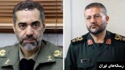 غلامرضا سلیمانی (راست) و محمدرضا آشتیانی به ترتیب به عنوان جانشین رئیس ستاد کل نیروهای مسلح و رئیس جدید سازمان بسیج مستضعفین منصوب شدند.