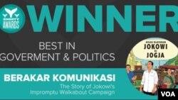 "Komik ""Kisah Blusukan Jokowi di Yogya"" produksi Berakar Komunikasi, memenangkan Shorty Awards di New York (Foto:Shorty Awards)."