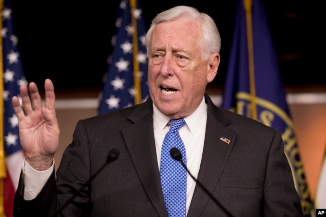 FILE - House Majority Leader Steny Hoyer of Maryland speaks at a news conference on Capitol Hill in Washington, Jan. 22, 2019.