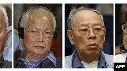 4 can phạm Khmer Ðỏ được đưa ra xử (từ trái): Nuon Chea, Khieu Samphan, Ieng Sary, và vợ là Ieng Thirith