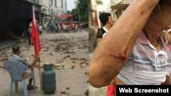 乌坎村民与防暴警察爆发多次冲突(合成网络图片/苹果日报)