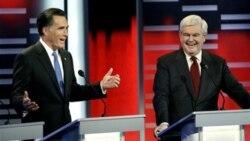 """نوت گینگریج یکی از رؤسای پیشین مجلس نمایندگان آمریکا (سمت راست) و میت رامنی فرماندار پیشین ماساچوست(سمت چپ) در یکی از مناظره های انتخاباتی تلویزیونی خود در روز بیستم دی ماه در """" دی موان"""" در ایالت آیوا"""