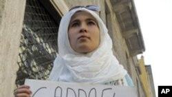 가다피 정권의 퇴진을 환영하는 리비아 대학생