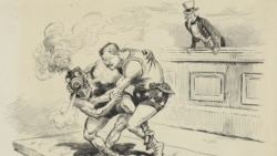 """Who is master?"" A cartoon from the New York Herald shows Theodore Roosevelt struggling with a wrestler representing the railroads, as Uncle Sam watches."
