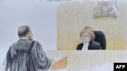 资料照:加拿大卑诗省最高法院主审法官霍尔姆斯在庭审华为前高管孟晚舟案时的法庭素描。(2020年1月20日)