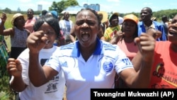 FILE: Zimbabwean war veterans who had gathered to demonstrate against a faction within the ruling Zanu PF party, reportedly led by the First Lady Grace Mugabe, vent their anger after they were dispersed by police using tear gas and water cannons in Harare.