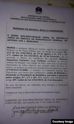 Mandato revista residência Casimiro Carbono