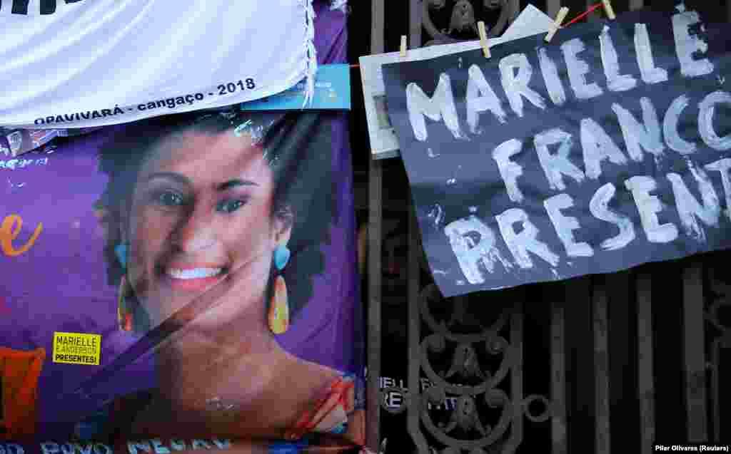 Foto de Marielle Franco no conselho da cidade do Rio de Janeiro, após o seu assassinato a 14 de Março