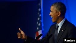 Presiden AS Barack Obama dalam konferensi pers di hari terakhir KTT NATO di Celtic Manor resort, Newport, di Wales, 5 September 2014.